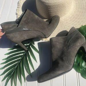 Bandolino Gray Suede Stiletto Heel Booties BD Erin